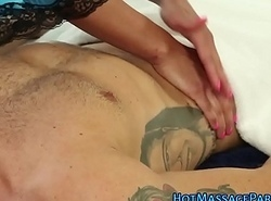 Busty asian masseur tugs