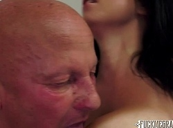 Grand-dad Gropes Busty Brunette