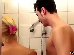 German MILF Coax down Lady-love wide of Step-Son Fat Dick everywhere Shower
