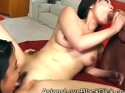 2 Blistering Chinese babe band together in blow eminent alien cock